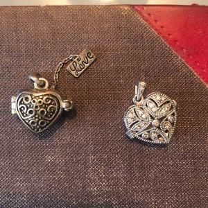 Two silver heart lockets (without chains)